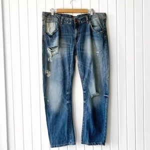 Zara Distressed Boyfriend Fit Jeans